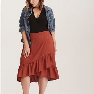 Torrid RUFFLED CHALLIS orange rust WRAP SKIRT 2
